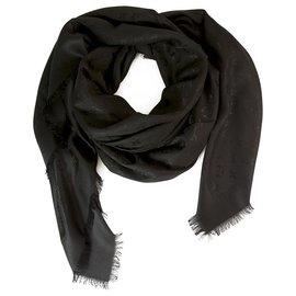 Louis Vuitton-Louis Vuitton monogramme noir châle jacquard en soie tissée ton sur ton M71329-Noir
