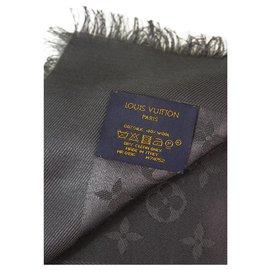 Louis Vuitton-Louis Vuitton monogram Graphite châle jacquard en soie tissée ton sur ton M74752-Gris anthracite