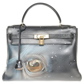 "Hermès-Hermes Kelly bag 32 returned in black box leather customized ""Horse"" # 50 by PatBo-Black"