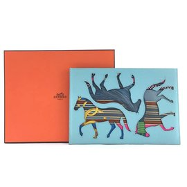 Hermès-Hermes Horse Clutch Blue Leather-Blue