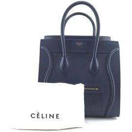 Céline-Céline Luggage Mini Blue calf leather Leather-Blue