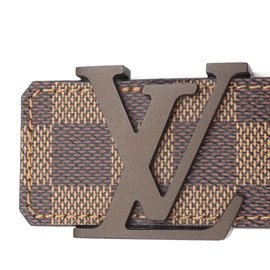Louis Vuitton-Ceinture Initiales Louis Vuitton Damier Ebene 1.5 Large taille 85/34-Marron