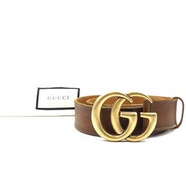 Gucci-Gucci Brown Marmont GG Gold Buckle Leather Belt Size 70/28-Marron
