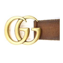 Gucci-Gucci Brown Marmont GG Gold Buckle Leather Belt Size 75/30-Marron