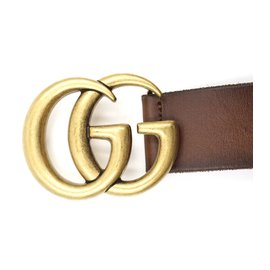Gucci-Gucci Brown Marmont GG Gold Buckle Leather Belt Size 80/32-Marron