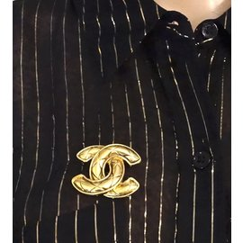 Chanel-Chanel Gold CC Quilted Hardware Brooch-Golden