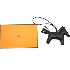 Hermès-Hermès Black Rodeo MM Horse Charm-Black