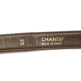 Chanel-Chanel CC Turnlock Logo Suede Leather Size 65/26 belt-Brown