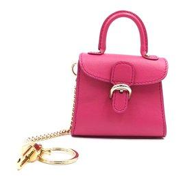 Delvaux-Delvaux Super Mini Brillant Charm Holder Pink Leather-Pink