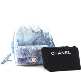 Chanel-Sac à dos Chanel Waterfall Mini en cuir bleu et paillettes-Bleu