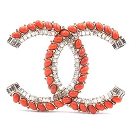 Chanel-Chanel Crystals Orange CC Gripoix Hardware Brooch-Orange