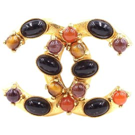 Chanel-Chanel Gold Multicolors Gripoix Rhinestons Cc Brooch-Multiple colors