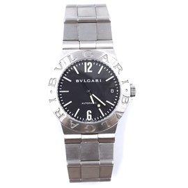 Bulgari-Bvlgari 35mm argent Diagono Lcv acier inoxydable cadran noir montre-Argenté