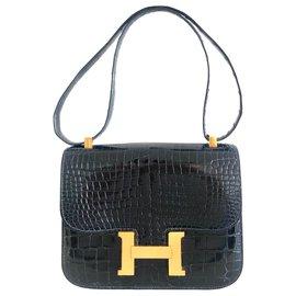 Hermès-Hermes Constance Crocodile Navy Blue Vintage-Navy blue