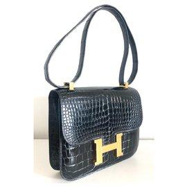Hermès-Hermes Konstanz Krokodil Marineblau Vintage-Marineblau