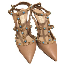 Valentino-Heels-Beige,Turquoise