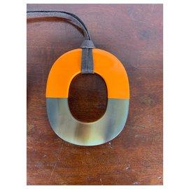 Hermès-Hermès long necklace-Orange