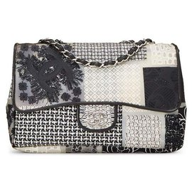 Chanel-Chanel Classic Jumbo neu im PVC-Patchwork, Leder und Tweed-Mehrfarben