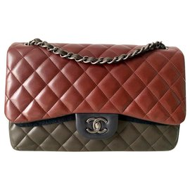 Chanel-Chanel limited edition Jumbo classic flap bag-Brown,Dark red,Olive green