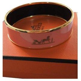 Hermès-Bracelet Hermès en Plaqué Or et Émail ton Rose Poudré-Rose