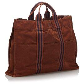Hermès-Hermes Brown Fourre Tout MM-Brown,Blue,Navy blue