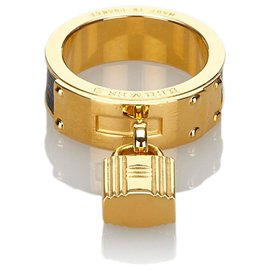 Hermès-Hermes Gold Loop Charms Cadenas Scarf Ring-Golden