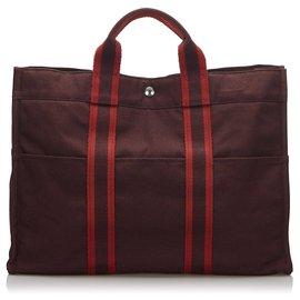 Hermès-Hermes cabas Rouge Rouge-Rouge,Autre