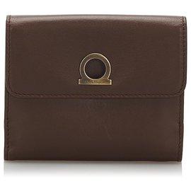 Salvatore Ferragamo-Ferragamo Black Leather Gancini Small Wallet-Black