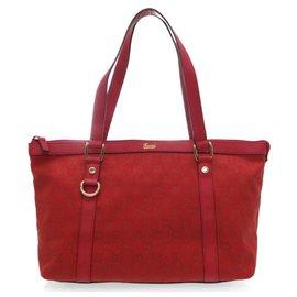 Gucci-Gucci GG Canvas Tote Bag-Rouge