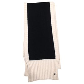 Chanel-Scarves-Black,Beige