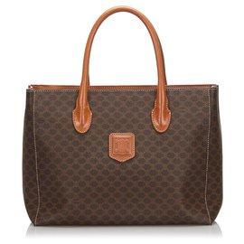 Céline-Celine Brown Macadam Tote Bag-Brown