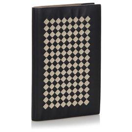 Bottega Veneta-Bottega Veneta Black Intrecciato Leather Notebook-Black