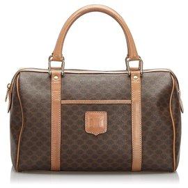Céline-Celine Brown Macadam Boston Bag-Brown,Dark brown