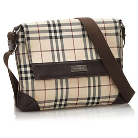Burberry-Burberry Brown House Check Canvas Shoulder Bag-Brown,Black,Beige