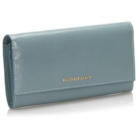 Burberry-Burberry Gray Leather Long Wallet-Grey