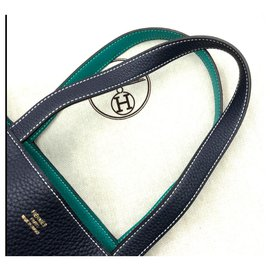 Hermès-Hermes lined sens bag-Green,Dark blue
