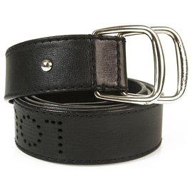Louis Vuitton-Louis Vuitton Black Perforated Monogram Belt boucle ardillon argentée 40/100-Noir