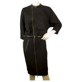 Dsquared2-Dsquared 2 Dolman noir 3/4 Manches Longueur au genou Zipper Robe taille 42 IT , Superbe-Noir