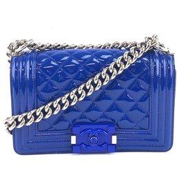 Chanel-Chanel Boy Small Plexiglass Blue Patent Leather-Bleu