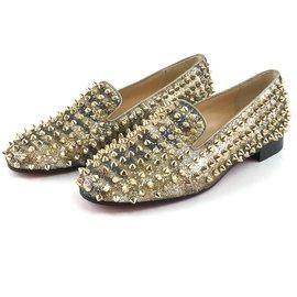 Christian Louboutin-Christian Louboutin Gold Glitter Rolling Spikes Dandelion Flats-Doré