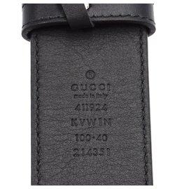 Gucci-Gucci Beige Black GG Leather Supreme Caleido Taille de la ceinture 100/40-Multicolore