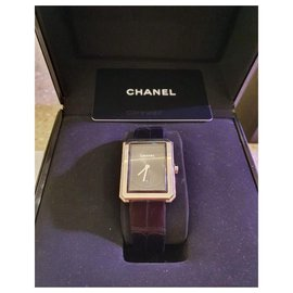 Chanel-Chanel BoyFriend Alligator watch-Black,Silvery