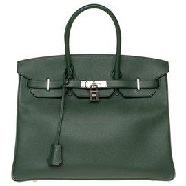 Hermès-HERMES BIRKIN 35 in englischem grünem Bittersleder, Palladie Silber Metallverkleidung, In sehr gutem Zustand-Grün