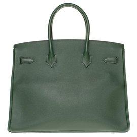 Hermès-HERMES BIRKIN 35 in English green Epsom leather, Palladie silver metal trim, In excellent condition-Green