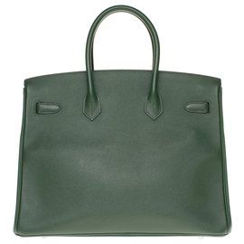 Hermès-Hermès Birkin 35 en cuir Epsom vert anglais, garniture en métal argent Palladié, en excellent état-Vert