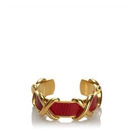 Hermès-Hermes Red Leather Logo Bracelet-Red,Golden