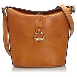 Céline-Celine Brown Leather Shoulder Bag-Brown