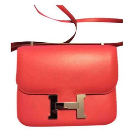Hermès-Hermes bag Constance 18 in Tadelakt Rose Lipstick leather-Silvery,Pink