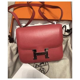 Hermès-Sac Hermès Constance 18 en cuir Tadelakt Rose Lipstick-Argenté,Rose