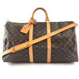 Louis Vuitton-Louis Vuitton Keepall 55 Bandouliere Monogram Canvas-Brown